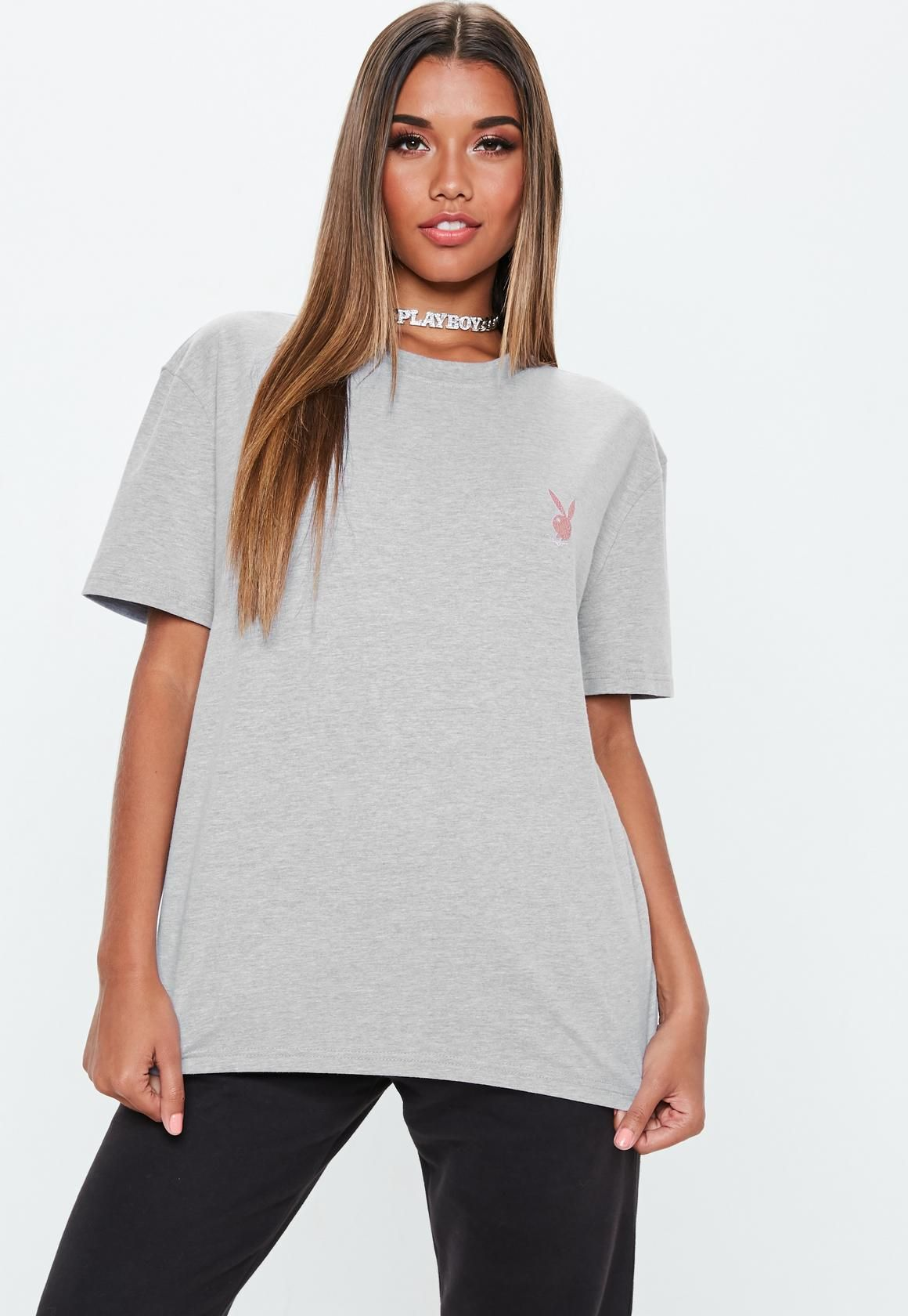 5cbd7716eb Playboy x Missguided Grey Oversized T Shirt