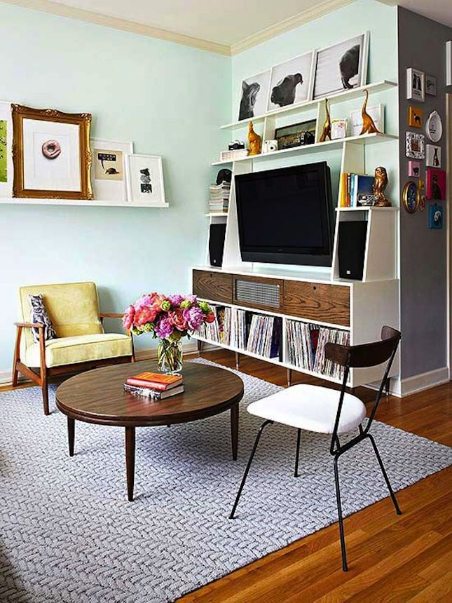 14 Stylish Ways To Fit A Tv In A Small Apartment Small Space Living Decorating Small Spaces Small Spaces