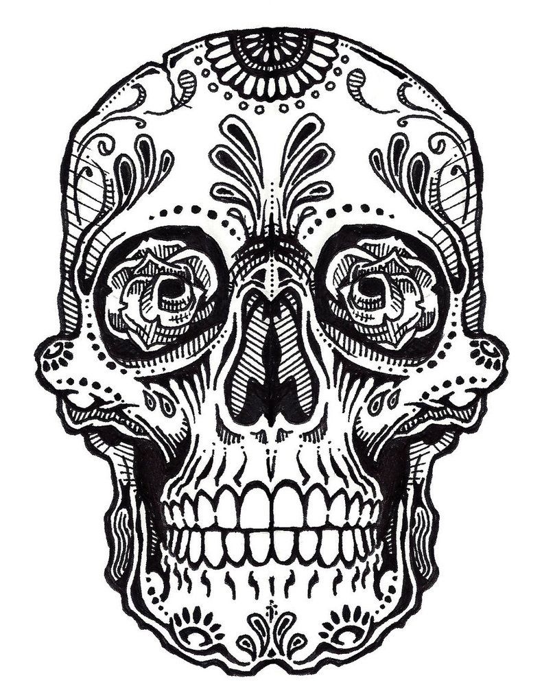Skull Tattoo Line Art Jos Gandos Coloring Pages For Kids Clipart Best Sugar Skull Drawing Skulls Drawing Skull Coloring Pages