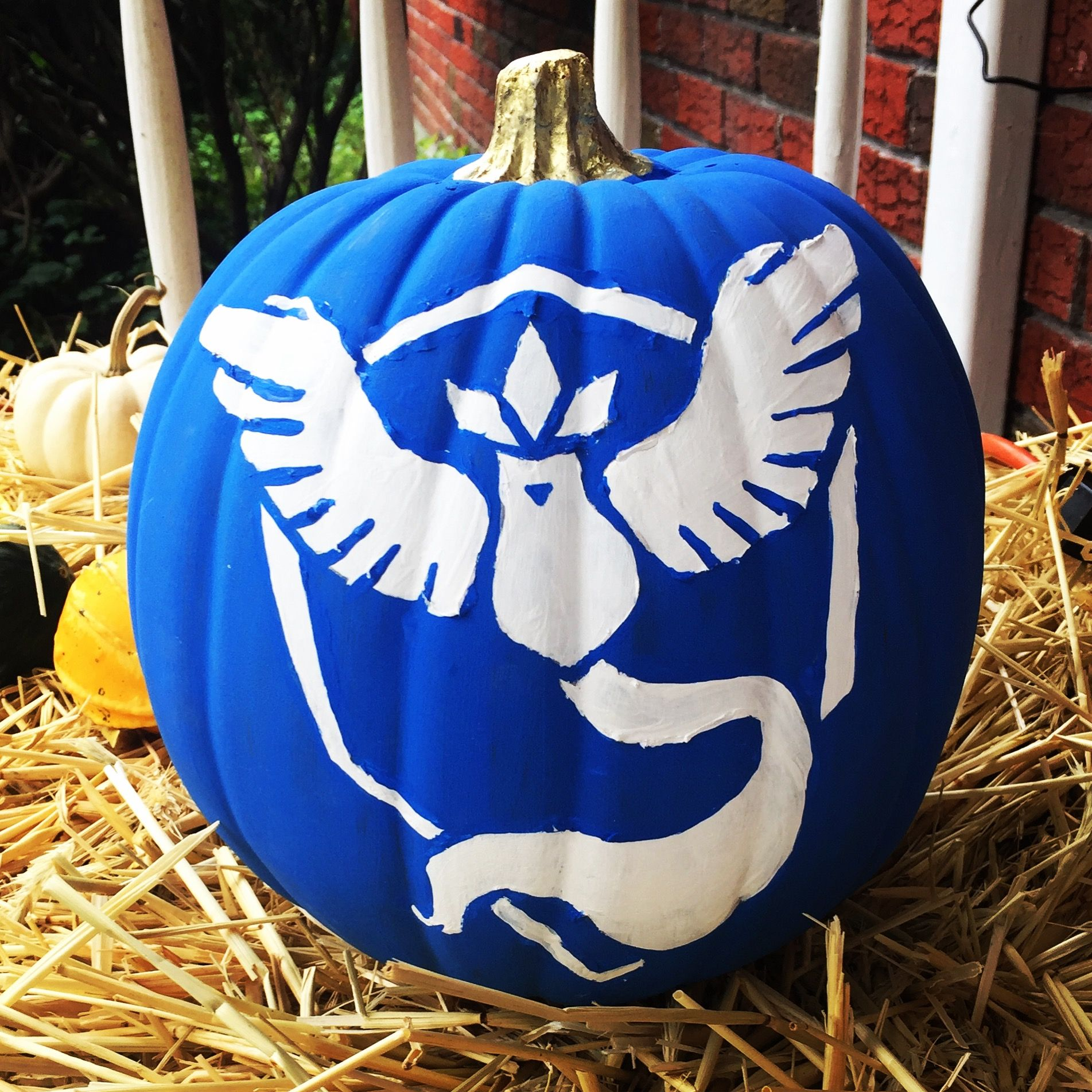 My painted pumpkin for this years Halloween. #halloween #articuno ...