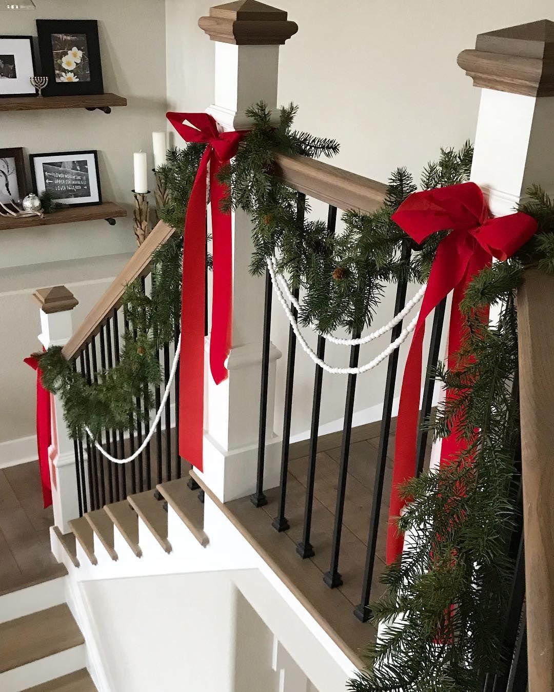 Easy Christmas Bead Ribbon Greenery Stair Garland Simple