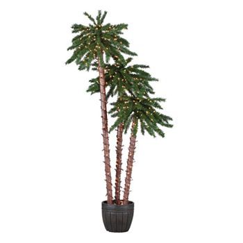 Sterling 3 Pc Pre Lit Palm Tree Set With Images Potted Palm
