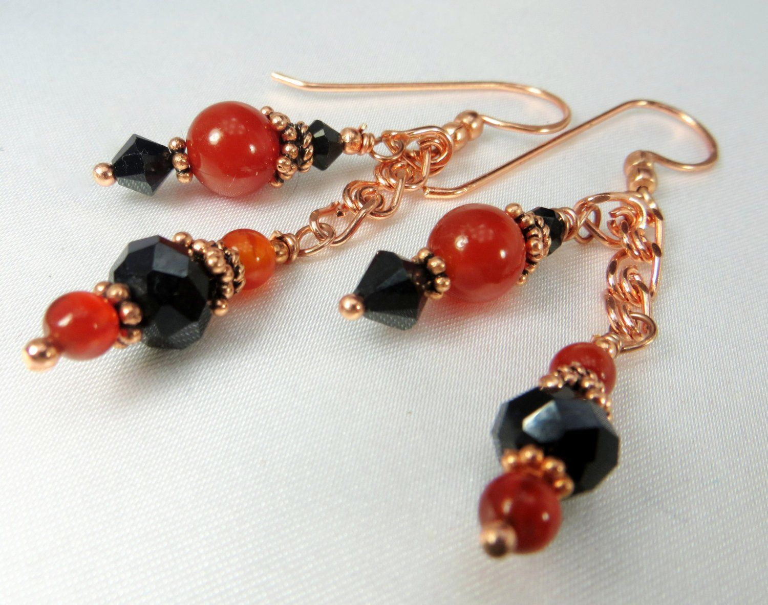 Rust, Black and Copper Earrings in Red Carnelian semiprecious stones ...