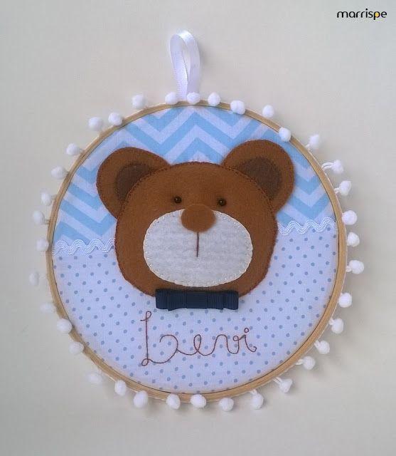 Aparador Cozinha ~ Quadro bastidor de ursinho para decoraç u00e3o de quarto infantil maternidade #artesanato #decoraç u00e3o