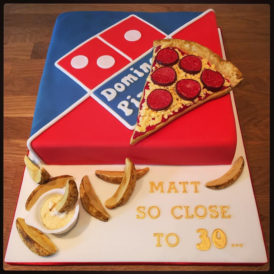 Dominos Pizza Birthday Cake with potato wedges Novelty Cakes by