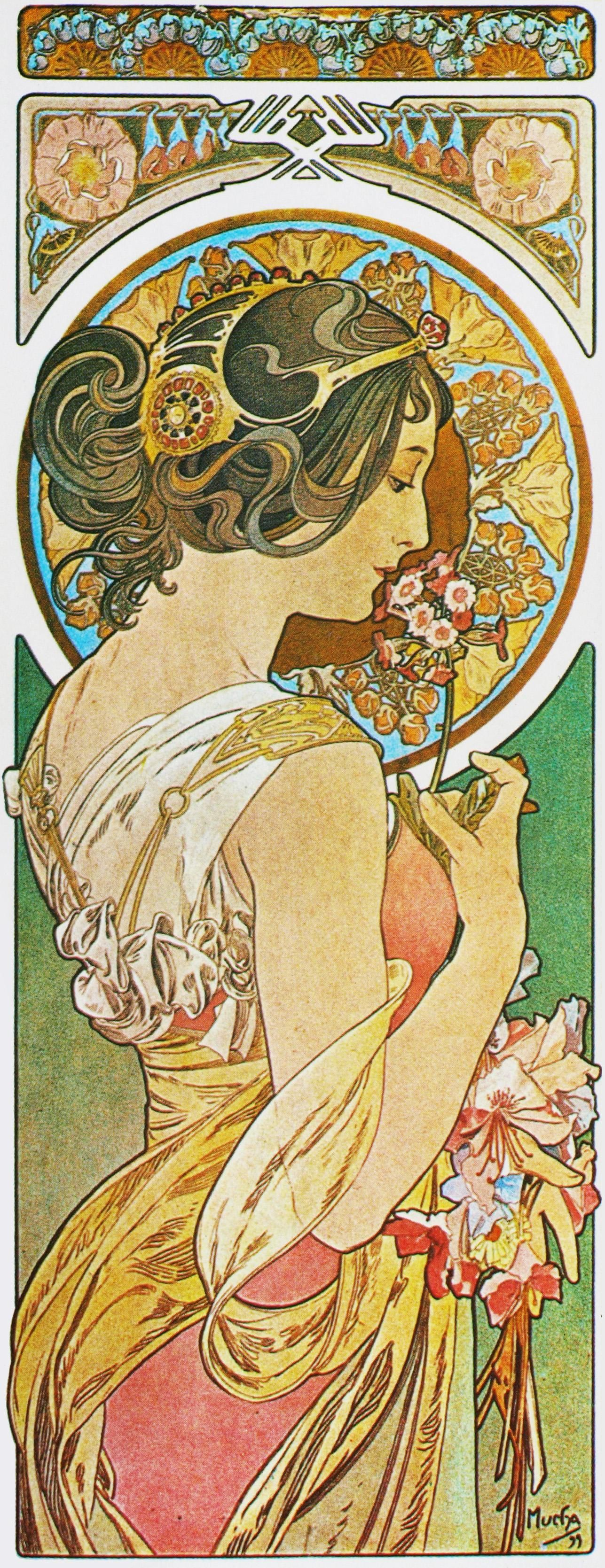 Jugendstil Malerei примулы первоцвет 1899 аьфонс муха