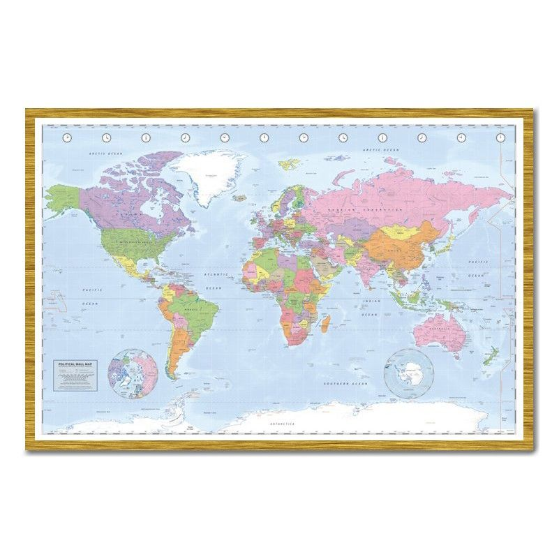 Miller political world map pinboard cork board with pins iposters political world map poster miller projection magnetic notice board oak framed x 66 cms approx 38 x 26 inches gumiabroncs Choice Image