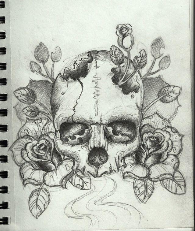 Broken skull roses | Art Art Art | Schädelzeichnungen ...