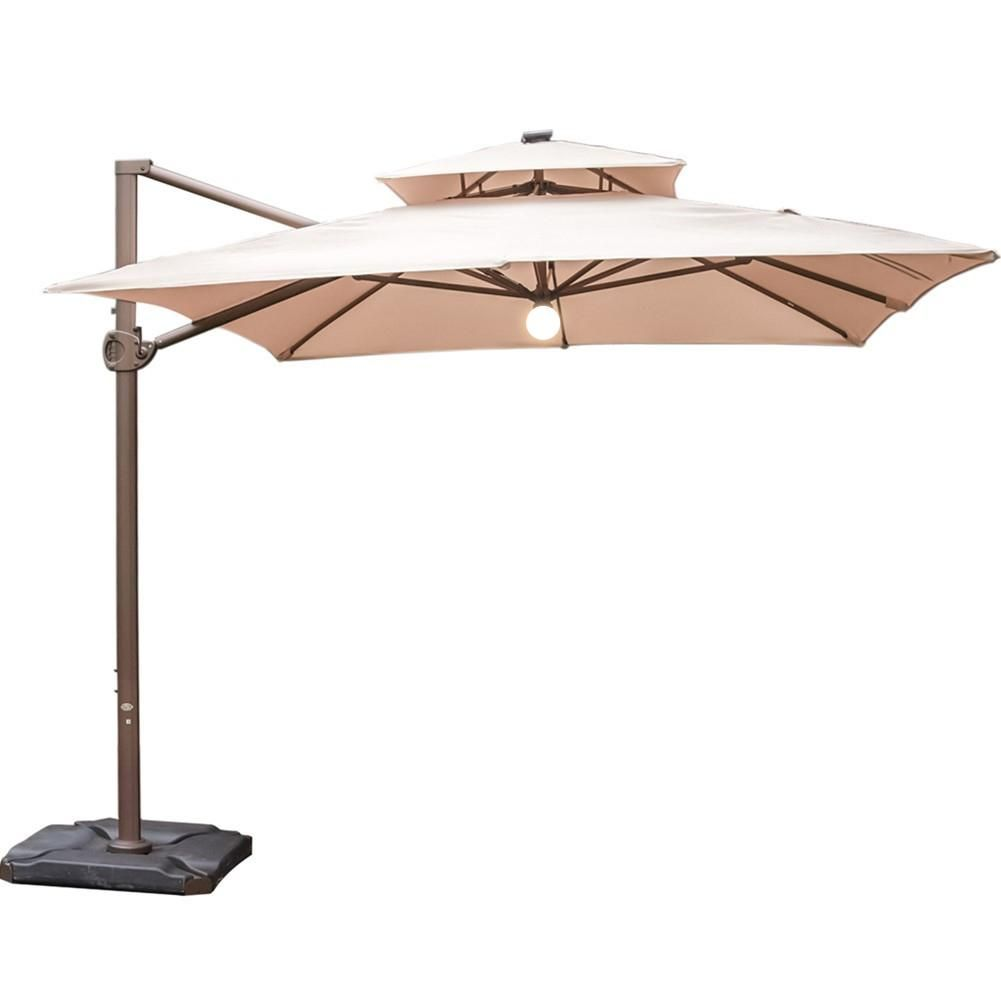 Abba Patio 9 X 12 Feet Rectangular Offset Cantilever Umbrella With Solar Lights Cocoa The Abba Patio 9 X 12ft Cantilever Umbrella Patio Offset Patio Umbrella