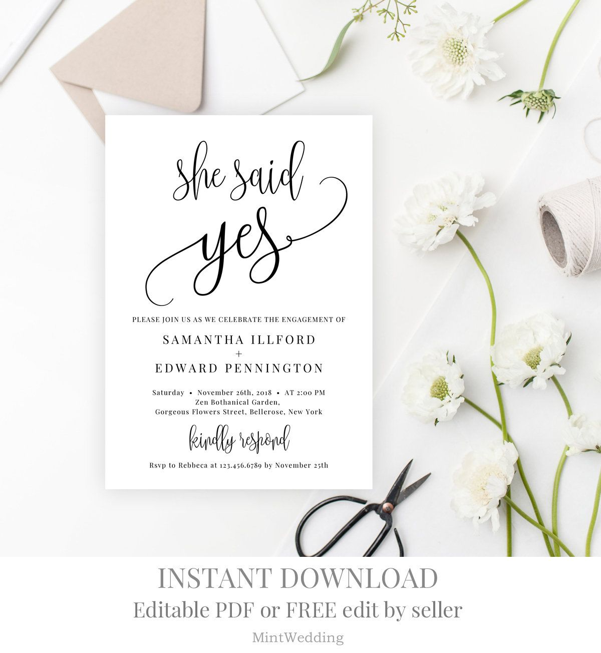 Elopement Reception Invitation Template Printable She Said Yes Post