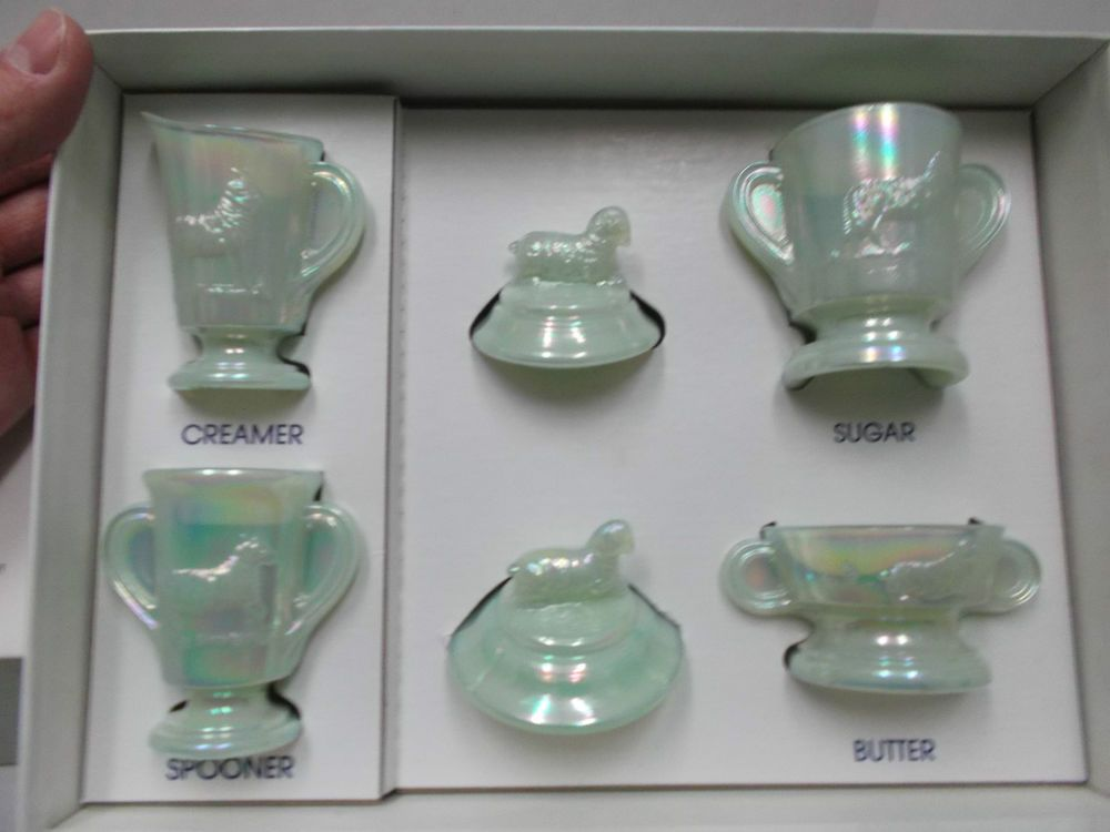Boyd's Glass Children's Lamb Set Glassware In Original Box, Iridescent White #Boyds
