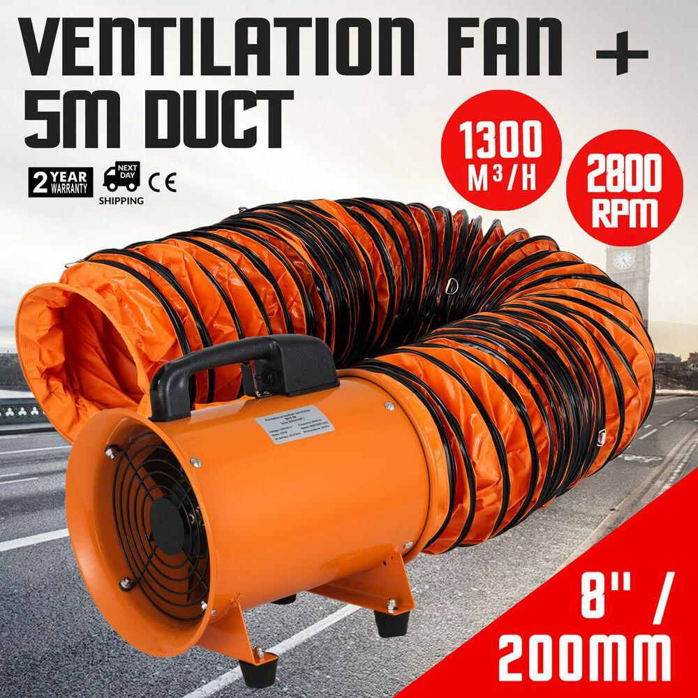 200mm Industriel Ventilateur 5m Pvc Conduit Extracteur W Poignee Atelier Ventilateur Industriel Conduit
