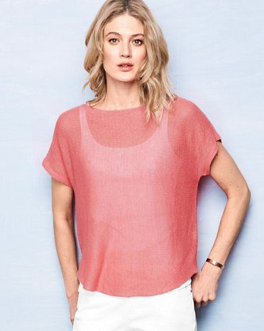 Eileen Fisher Organic Linen Bateau-Neck Short-Sleeve Sweater ...