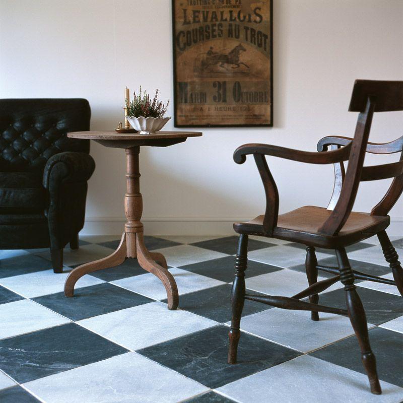 Di Scacchi Tumbled Marble Monochrome Pinterest Flooring