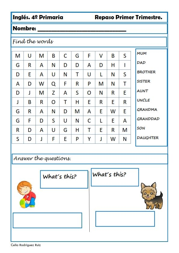 Fichas de inglés para cuarto de primaria | English worksheets ...