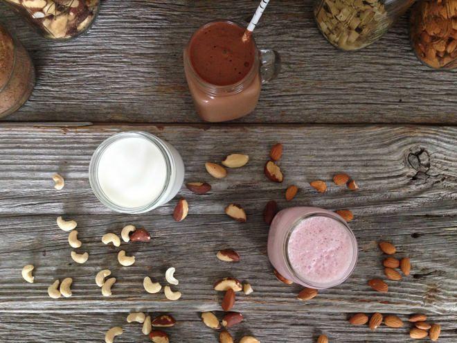 Nut Milk, three ways {strawberry, vanilla cashew, cocoa brazil} // nutritionstripped.com