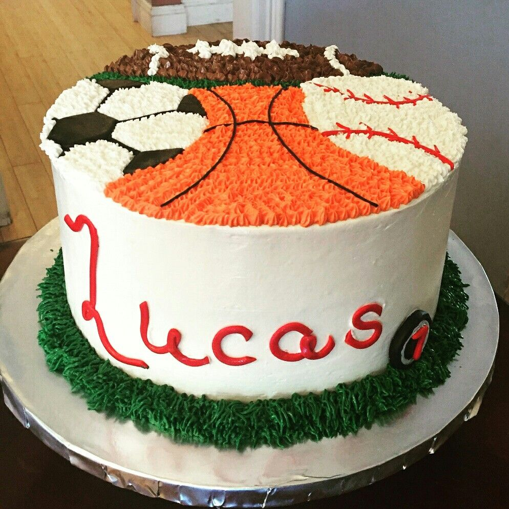 Incredible Buttercream Sports Theme Cake Sports Themed Cakes Sports Themed Funny Birthday Cards Online Alyptdamsfinfo