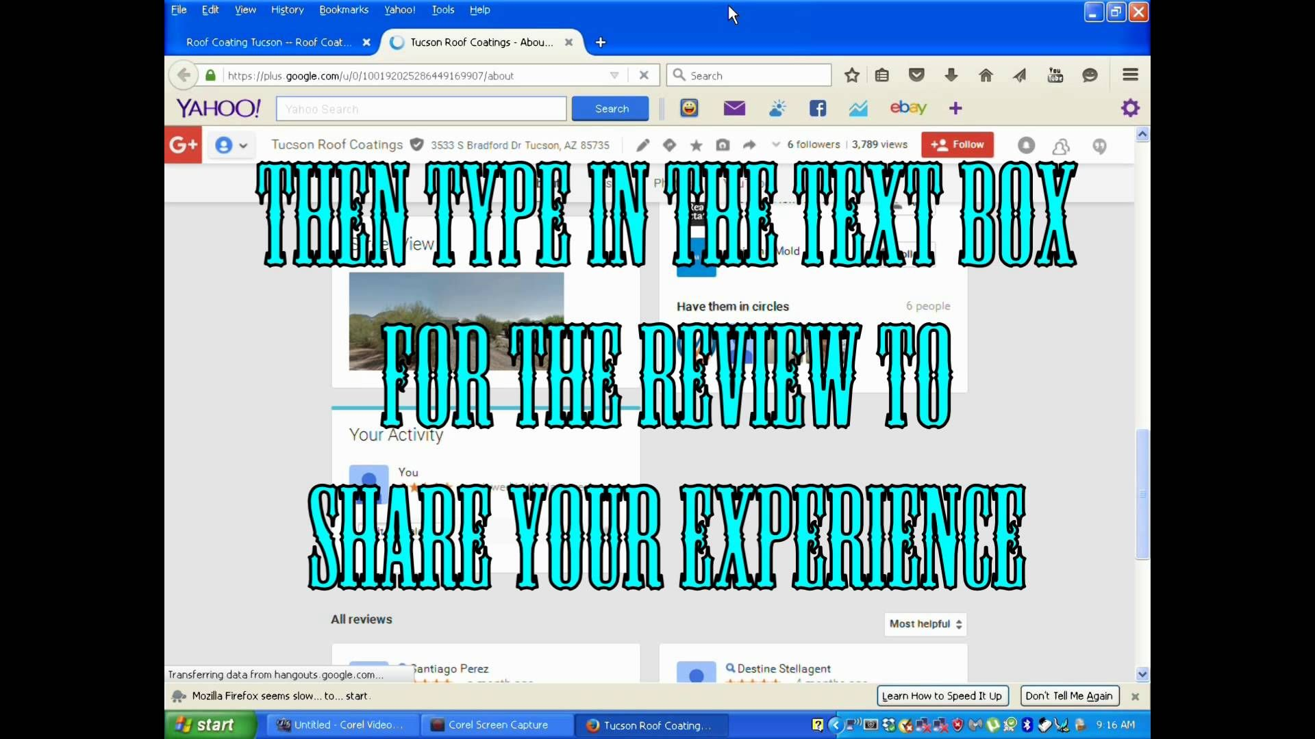 How To Google Review On A Laptop Computer Tucson Roof Coatings LLC... Roof  Coating Tucson One Roof At A Time Tucson Roof Coatings LLC 520 314 7811u2026