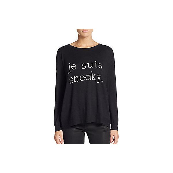 Joie Eloisa 'Je Suis Sneaky' Sweater ($120) ❤ liked on Polyvore featuring tops, sweaters, caviar, slouchy pullover sweater, joie tops, round neck sweater, ribbed top and joie
