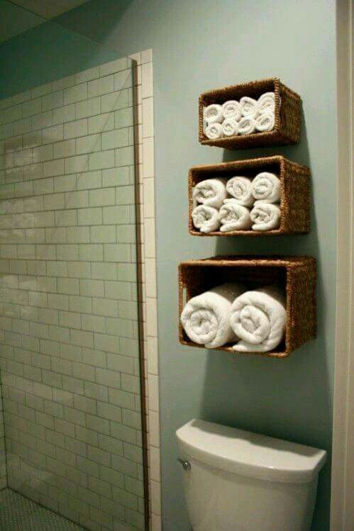 towel storage. Baskets To Hold Hand Towels And Washcloths. This Needs Go In Upstairs Bathroom! Towel Storage Pinterest