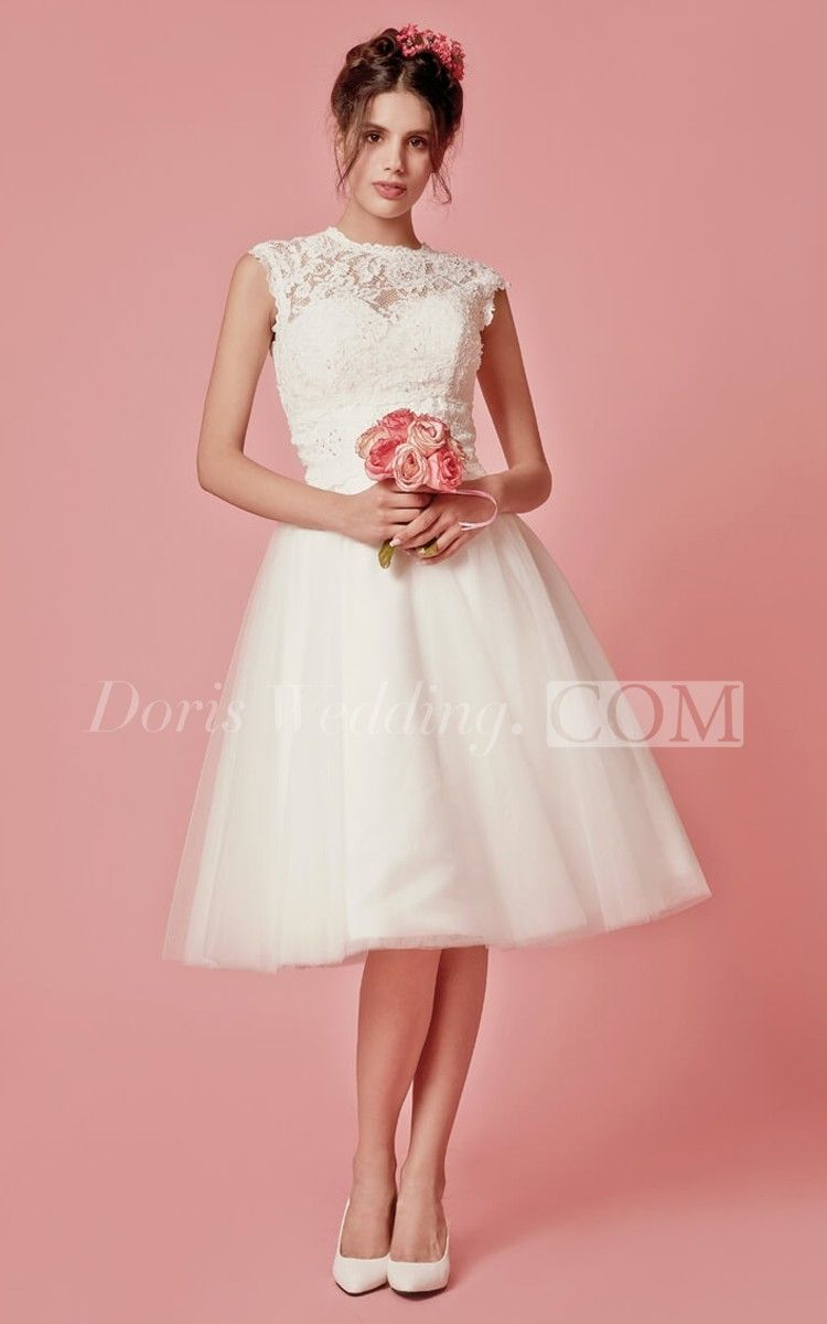 Aristocratic Cap-sleeve High Neck Tea-length Dress With Lace Top