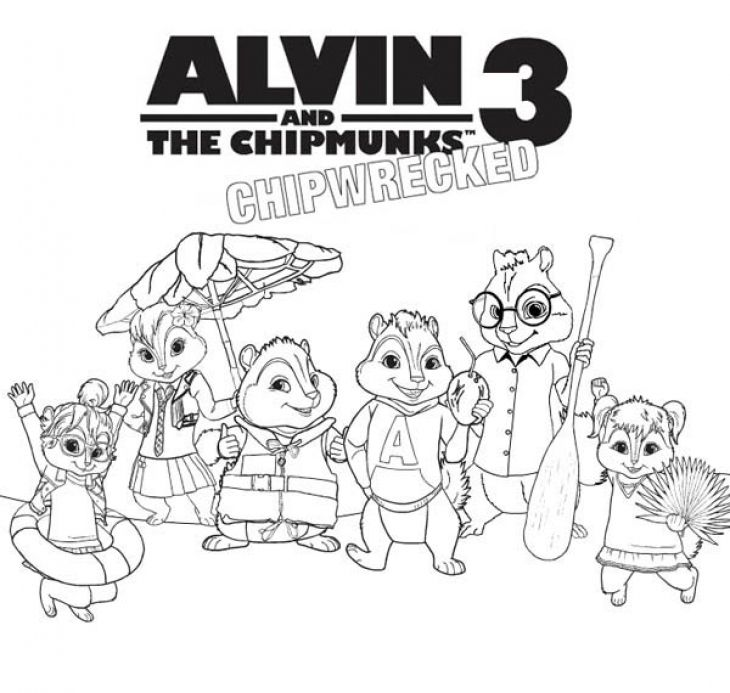 Alvin And The Chipmunks 3 Chipwrecked Coloring Page For Kids Movie
