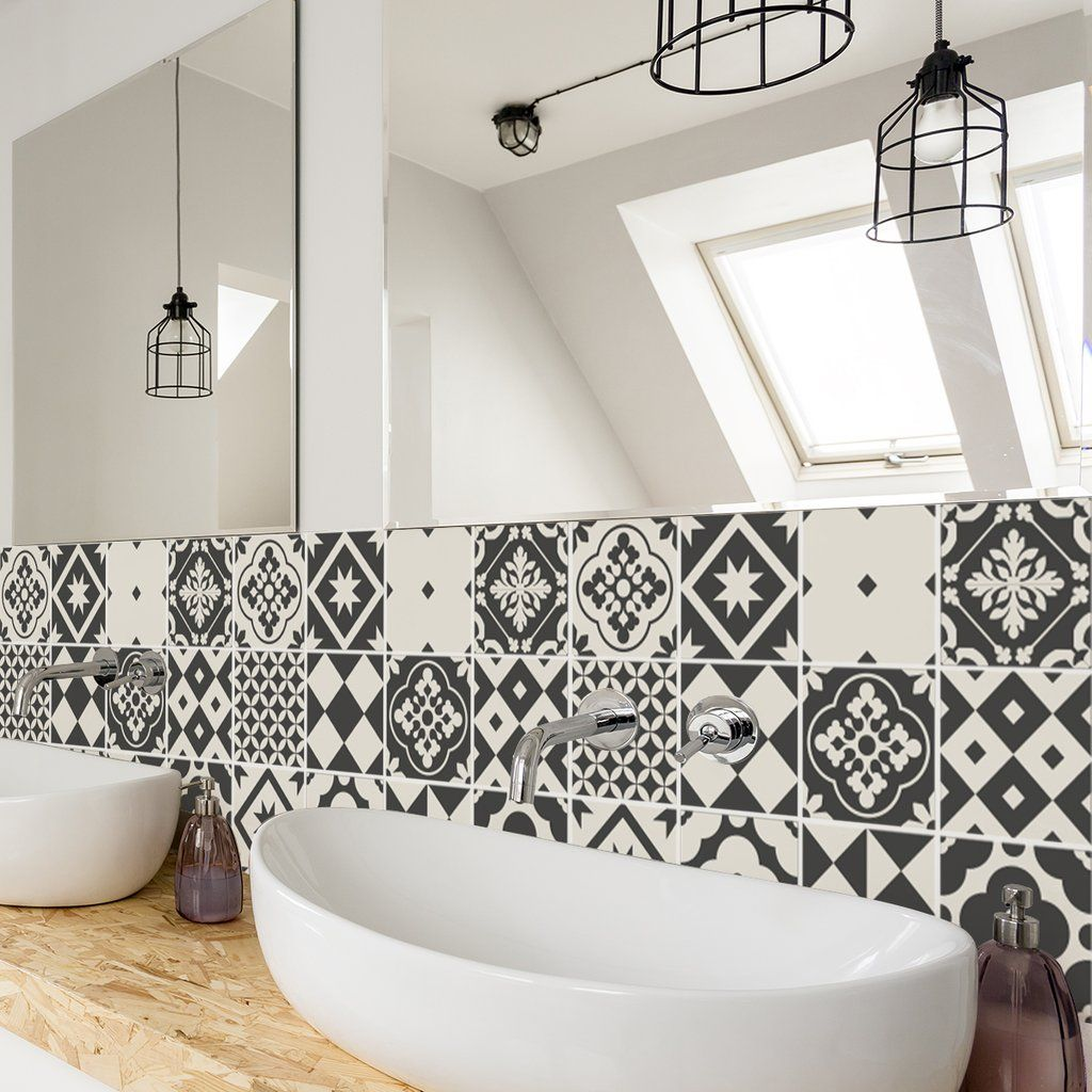 Greyscale Tile Decals Tile Stickers Set For Kitchen And Bathroom P Sirface Graphics Geometric Tiles Bathroom Tile Decals Tile Bathroom