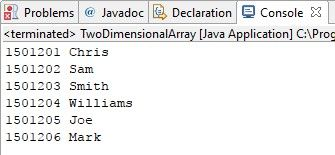 Two Dimensional array in java program is executed using two