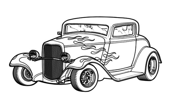 Hot Rod Cars With Flaming Theme Coloring Pages Kids Play Color In 2020 Cars Coloring Pages Race Car Coloring Pages Hot Rods Cars