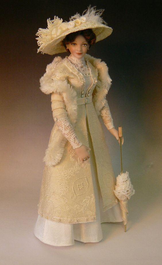 1 12 Scale Edwardian Dollhouse Lady Doll By Debbie Dixon Paver Doll Dress Lady Doll Doll Clothes
