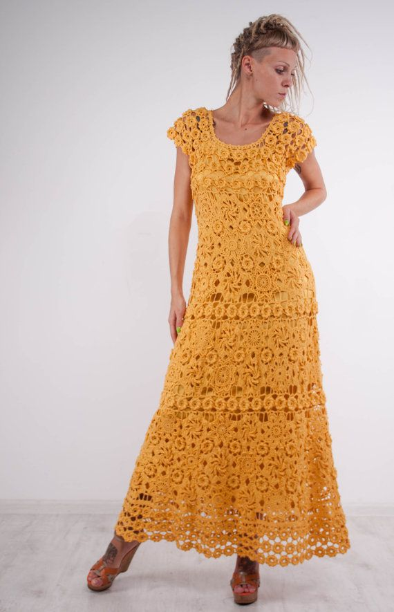 Crochet maxi dress handmade formal dress ready to ship party lace ...