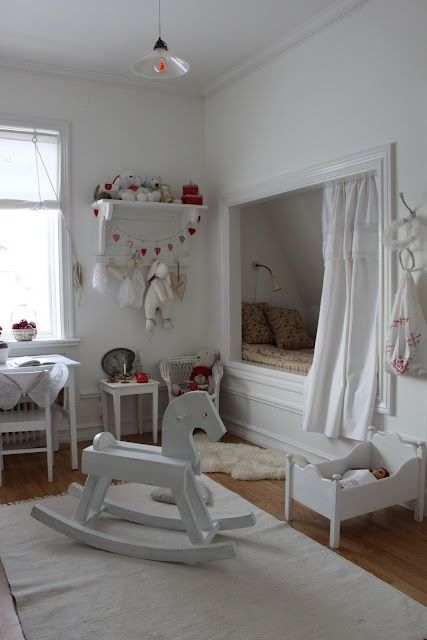 mommo design: sleeping nook love the white doll bed and rocking horse and table and chairs