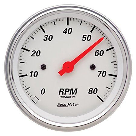 auto meter arctic white electric tachometer - 1390 gauges size chart,  performance parts, electrical