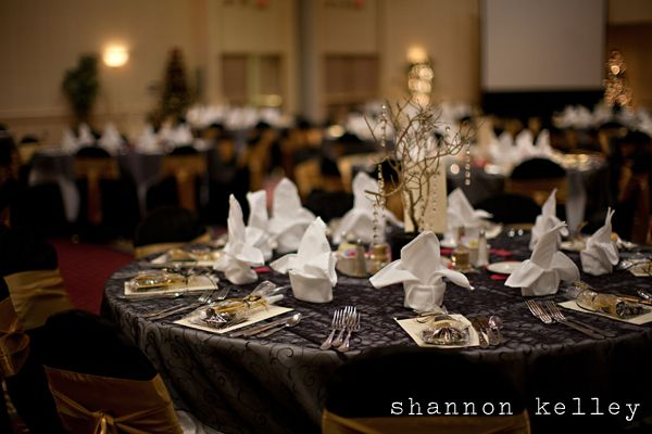 love the black table cloth with gold and silver accents.