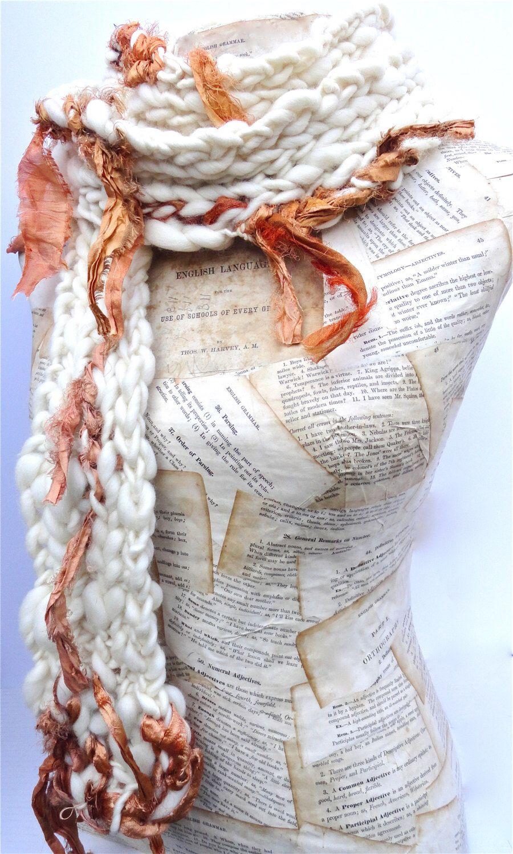 Saffron Scarf Sari Silk Ribbon Autumn Chunky Knit Merino