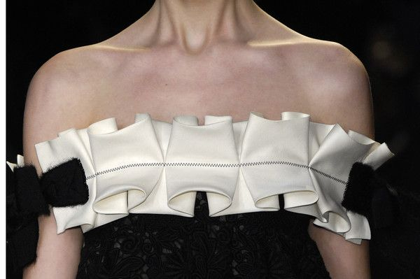 Dress detail with oversized box pleat trim - fabric manipulation; creative sewing ideas; decorative pleating // Giambattista Valli