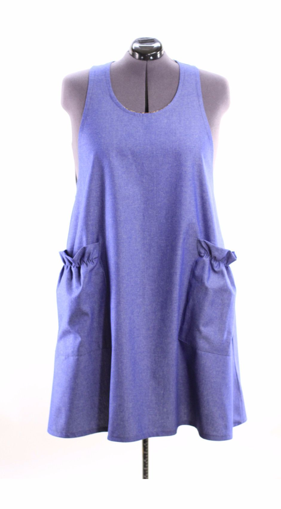 Plus size no tie apron in navy blue denim with criss cross back