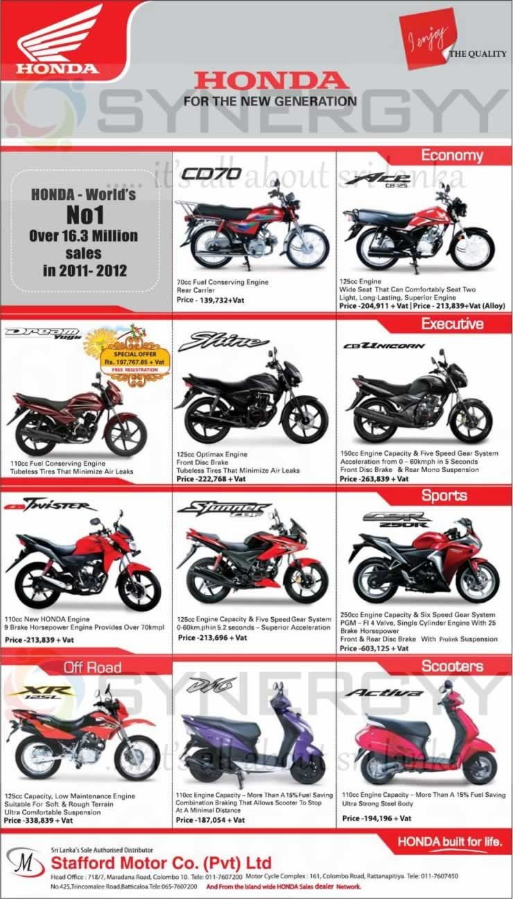 Honda Motorcycle Prices In Sri Lanka April 2013 Motorcycle Price Honda Motorcycle Honda