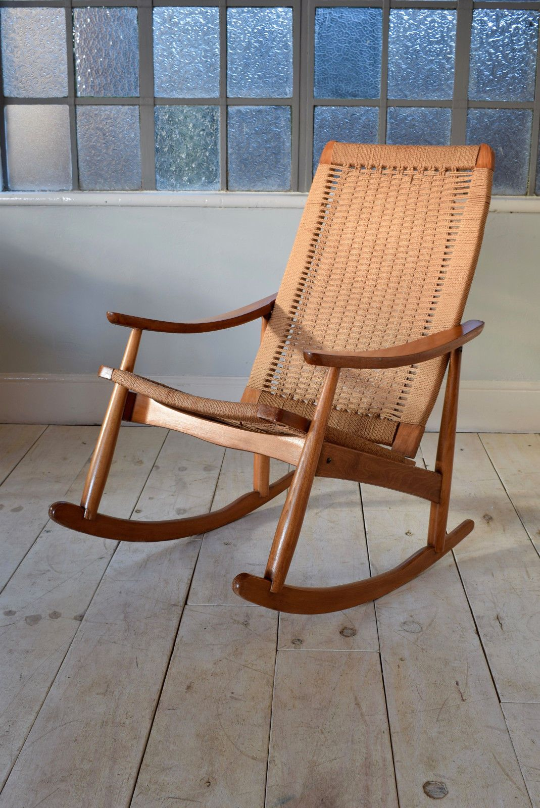 Outstanding Stunning Yugoslavian Mid Century Rocking Chair With Woven Squirreltailoven Fun Painted Chair Ideas Images Squirreltailovenorg