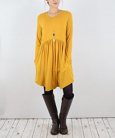 267b8adcde53 This Mustard High-Waist Pocket Tunic is perfect! #zulilyfinds. Another  great find on #zulily!
