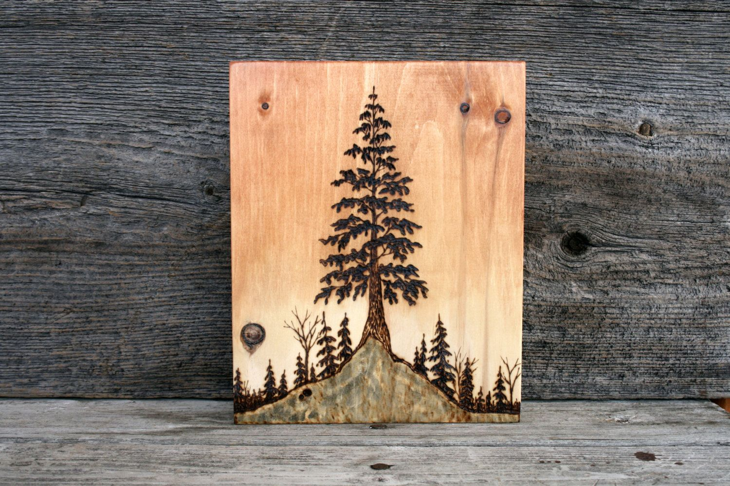 Tree At Sunset Wood Burning Art Tree By Twigsandblossoms