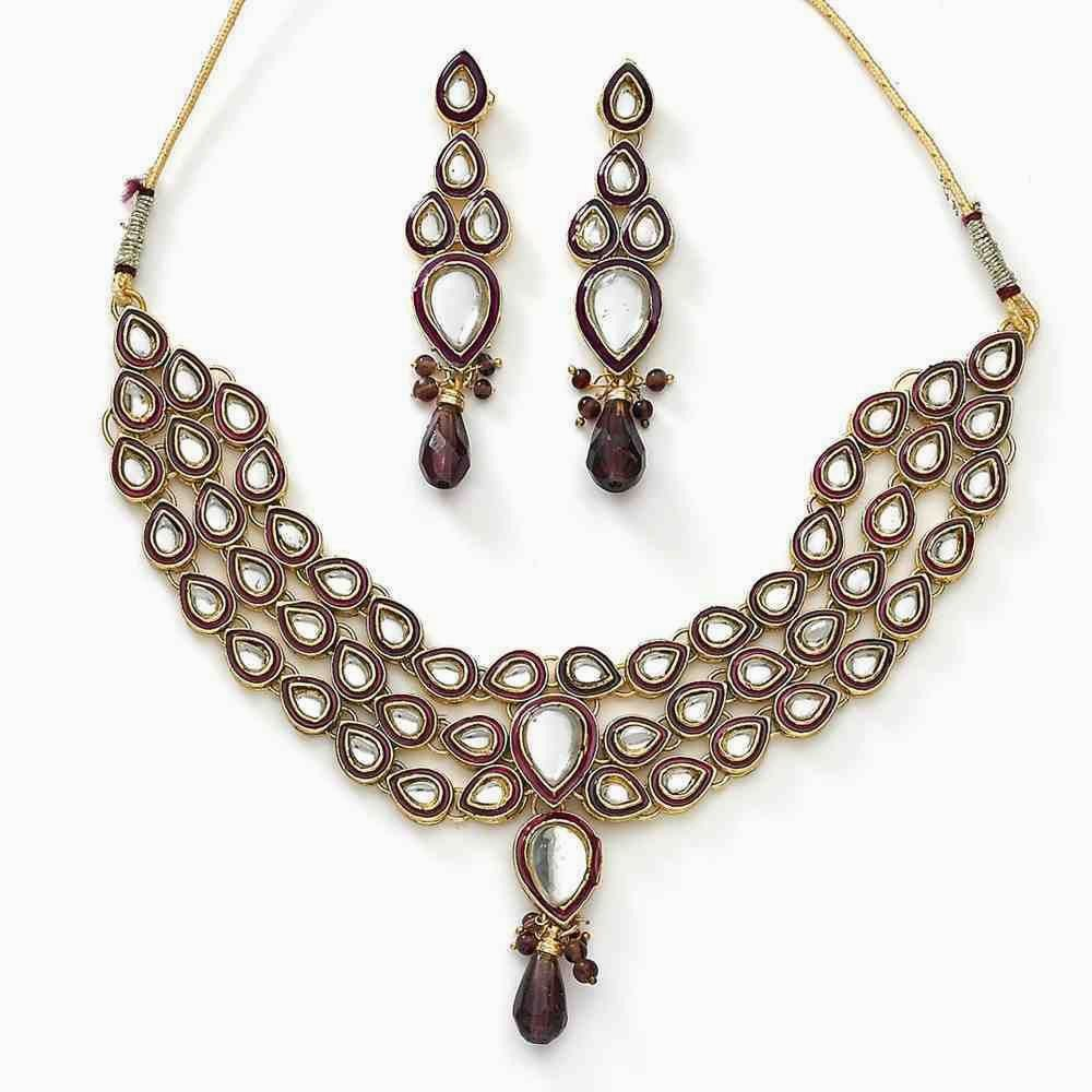 Kundan Necklace Set Gold Plated Jewelry Choker Bollywood Indian