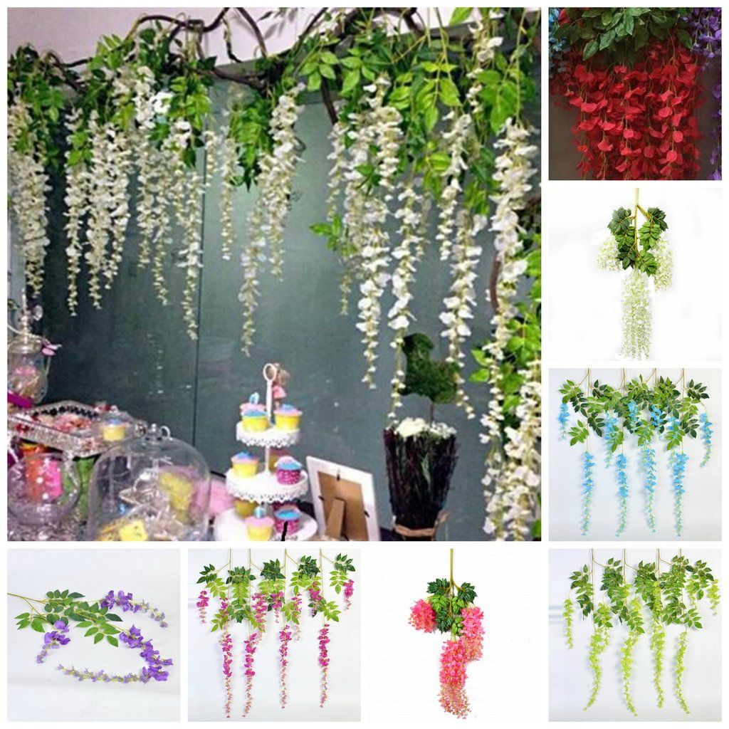 12 Wisteria Hanging Flower Garland For Wedding Backdrops Birthday Party Decors Photo Prop Backdrops 110cm Hanging Flowers Hanging Flowers Wedding Flower Garlands