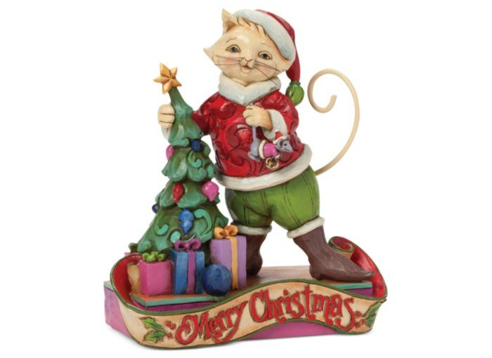 Jim shore christmas cat itude collectible figurine holiday lane