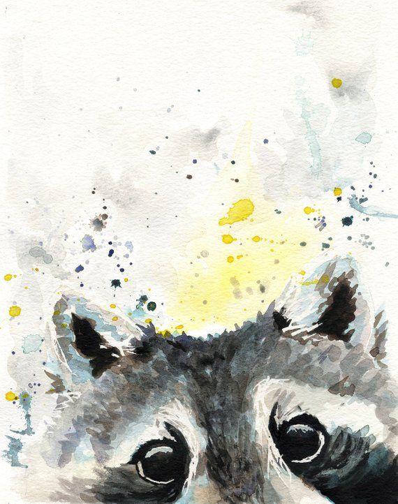 Raccoon Print  Raccoon Art  Woodland Nursery Art  Gift For | Etsy