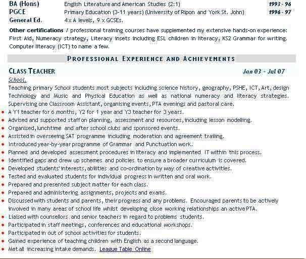 Teaching CV example, teacher CV #cv,example,examples,teaching - cv format for teaching