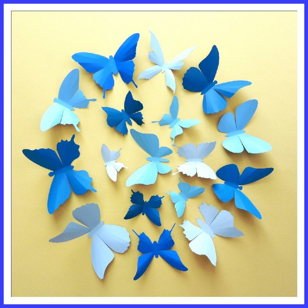 3D Wall Butterflies - 15 Azure, Baby, Royal Blue Butterfly ...