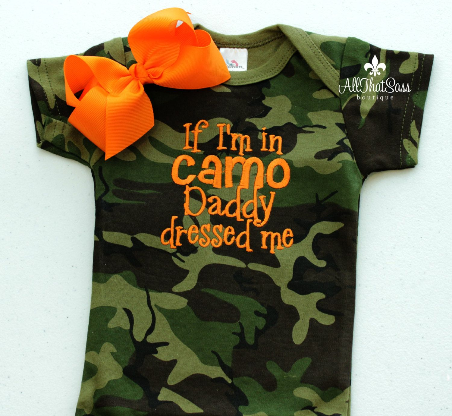 Camoflauge Baby Bodysuit and Bow Camo by AllThatSassBoutique $23 50
