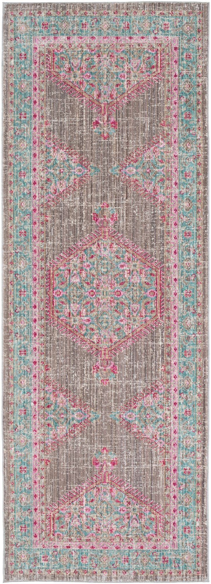 Rectangular Runner Teal Taupe Bright Pink Products In