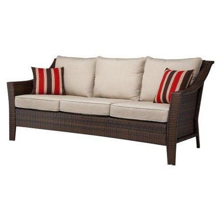 Rolston Wicker Patio 3 Person Sofa